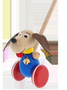 Holzspielzeug Greenkid Schiebspielzeug mit Bewegung. Kleine Holzhund mit Glöckchen auf Rädern für Kinder ab 1 Jahr. Abafactory der tschechische Produzent der hochwertigen Holzspielzeuge.