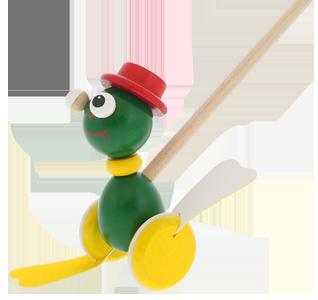 Holzspielzeug Greenkid plapperndes Schiebetier für Jungs und Mädchen. Holzfrosch von dem tschechischen Produzenten der Holzspielzeuge Abafactory.