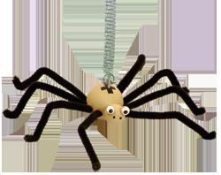 Fliegende Holztierchen auf Feder Greenkid: Spinne. Holzspielzeug und Dekoration ins Kinderzimmer. Die tschechische Produktion der hochwertigen und sicheren Holzspielzeuge Abafactory.