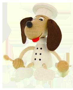 Holzfigur Greenkid. Holzhundkoch von Abafactory dem tschechischen Hersteller der hochwertigen Holzspielzeuge und Dekorationen für Kinder.