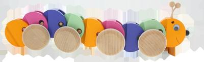 Ziehraupe - Holzspielzeug Greenkid. Abafactory der tschechische Hersteller der hochwertigen und für Kinder sicheren Holzspielzeuge.