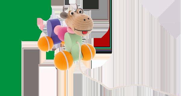Hochwertiges Holzziehspielzeug Greenkid für Jungs und Mädchen. Farbiges Holzkuhkalb von dem tschechischen Hersteller Abafactory.
