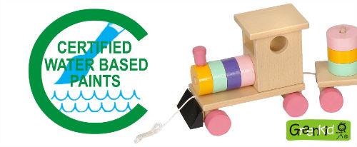 Hochwertige und sichere Spielzeuge Greenkid. Der tschechische Hersteller der Holzspielzeuge Abafactory verwendet wasserverdünnungsfähige zertifizierte Farben.